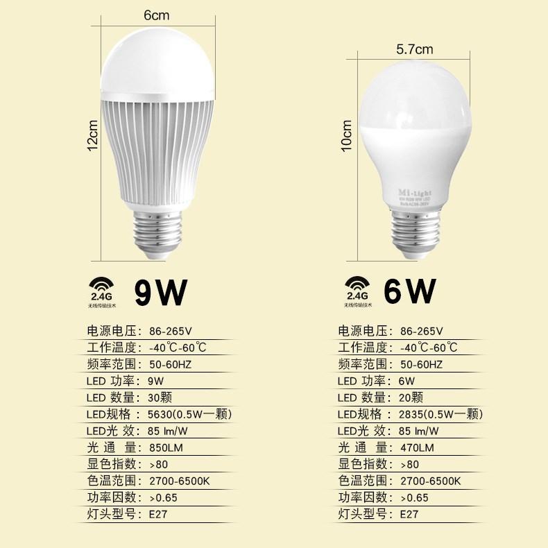 螺口节 e27 灯泡无频闪家用小改造圆形穿墙遥控调光灯泡 led 优美智能