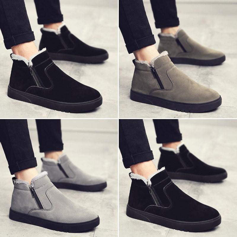 短靴保暖可爱一脚蹬懒人鞋男雪地靴青少年加绒休闲男童男生棉