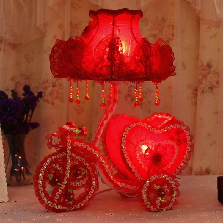 婚庆台灯红色创意结婚礼物婚房台灯红色婚房床头灯新婚房卧室台灯