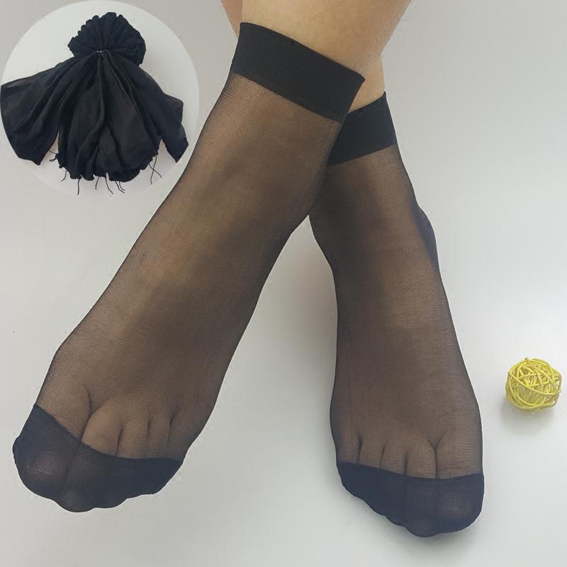 20双装超薄丝袜女士夏季浅口短袜白肤黑多色隐形袜子