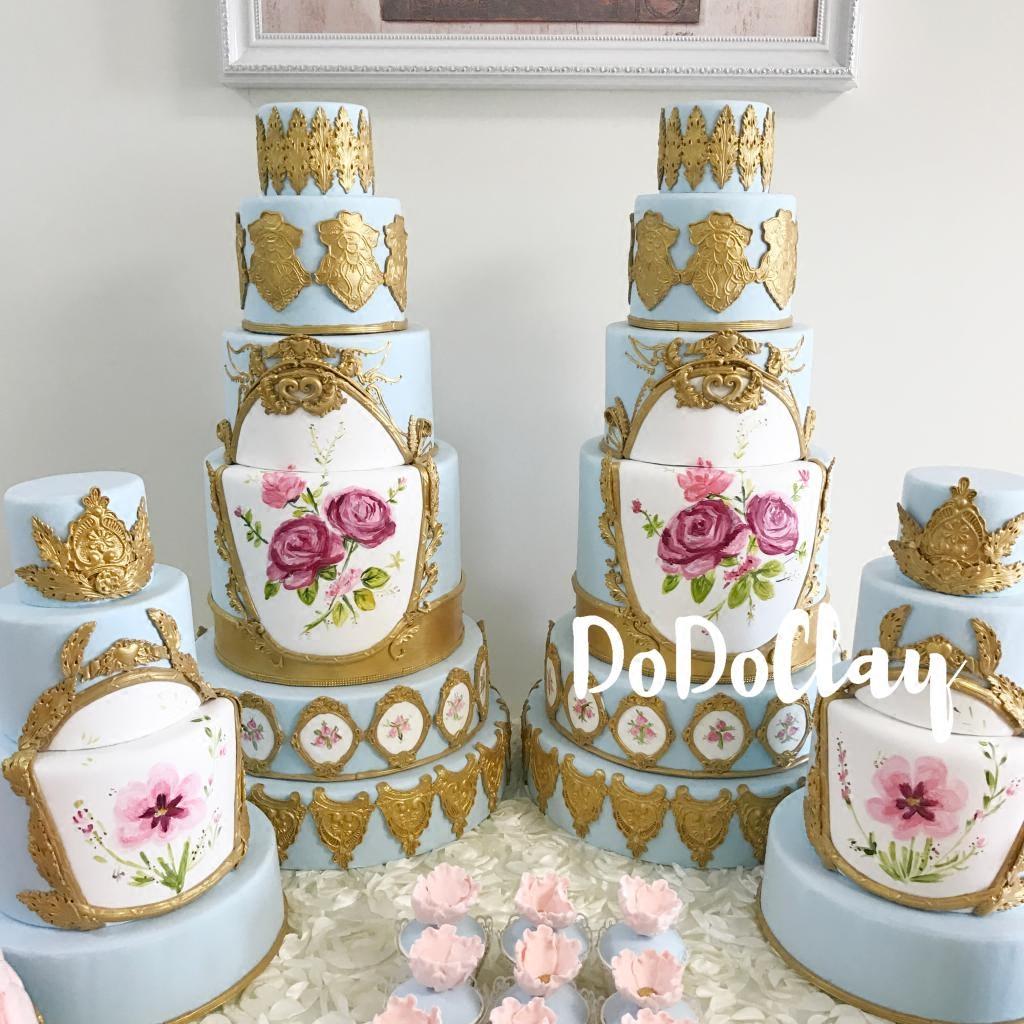 手绘玫瑰花欧式宫廷风格蓝色系仿真翻糖蛋糕模型马卡龙塔橱窗装饰