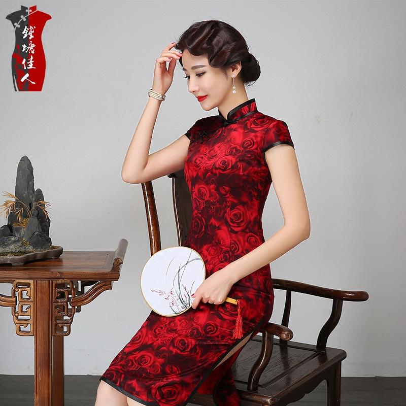 2018春夏红色中长款真丝旗袍连衣裙中国风桑蚕丝宴会妈妈中式礼服