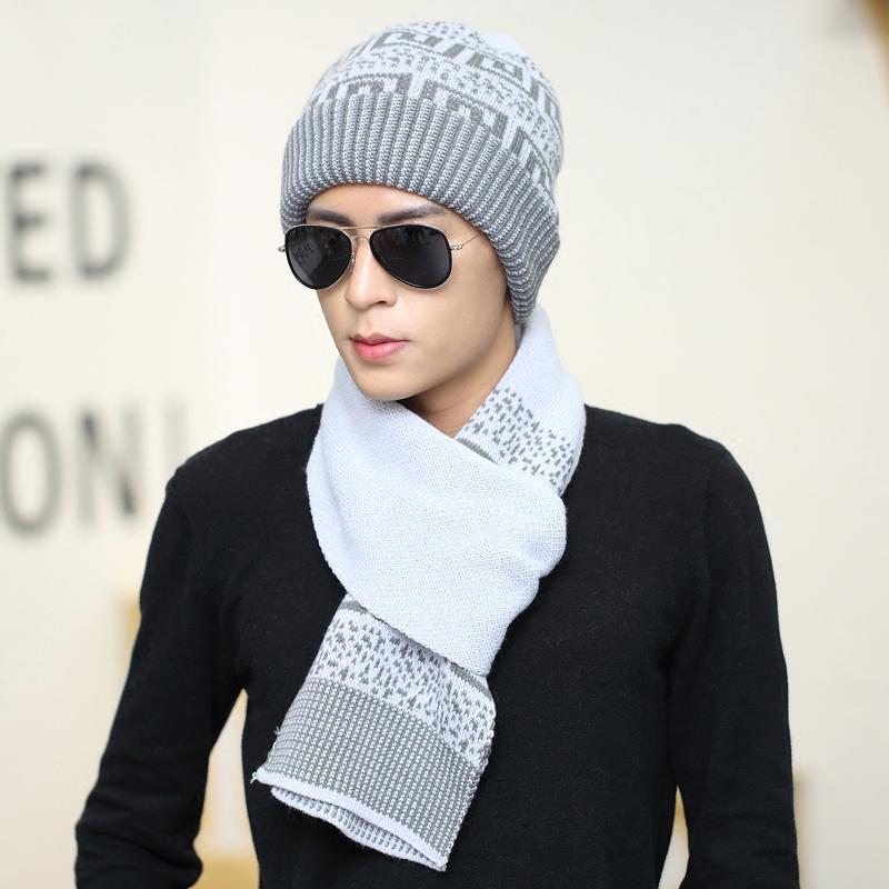男士帽子围巾两件套套装秋冬天韩版二件套毛线帽套头帽围脖保暖帽