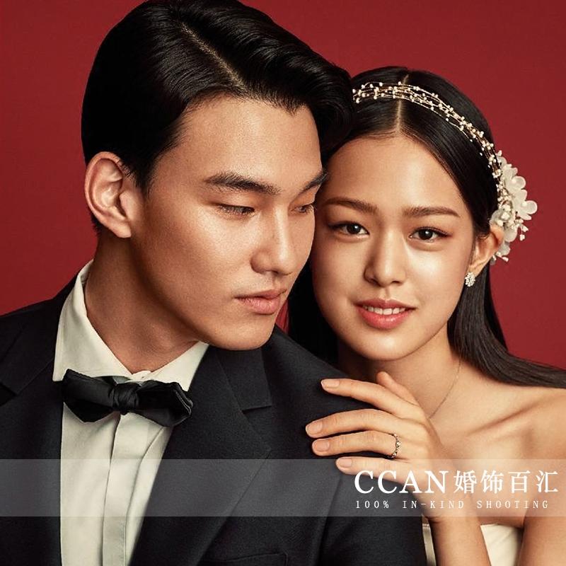 韩式新品百搭气质款珍珠水晶多层串珠新娘礼服发绑带跟妆头饰品
