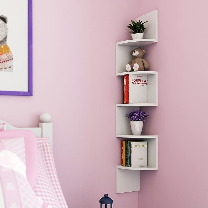 墙上置物架隔板墙角架创意三角架壁挂书架多层墙壁转角架扇形花架
