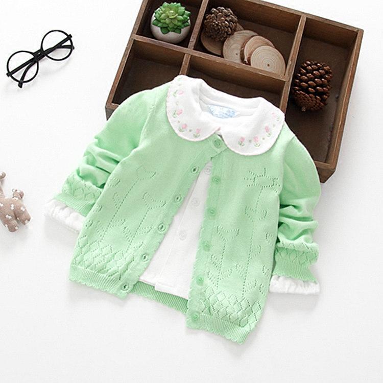 宝宝秋季薄款毛衣百搭婴儿纯棉线衣开衫女童糖果色针织衫秋装上衣