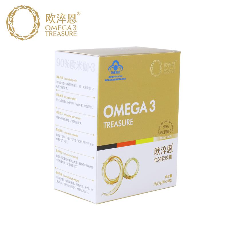 欧淬恩牌鱼油软胶囊1g/粒*28粒甄选进口深海鱼油原料90%欧米伽3