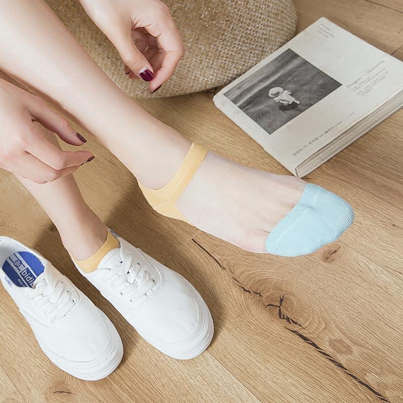 船袜女夏丝袜全棉短袜 日系玻璃丝袜可爱女袜水晶丝袜 浅口袜子女