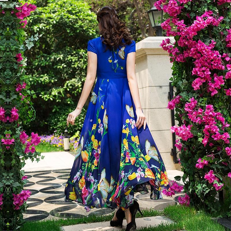 2019夏新款雪纺印花连衣裙短袖气质显瘦大码跳舞裙长款大摆度假裙