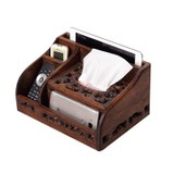 Different European retro wood multi-purpose tissue box living room coffee table remote control storage box decorative paper box