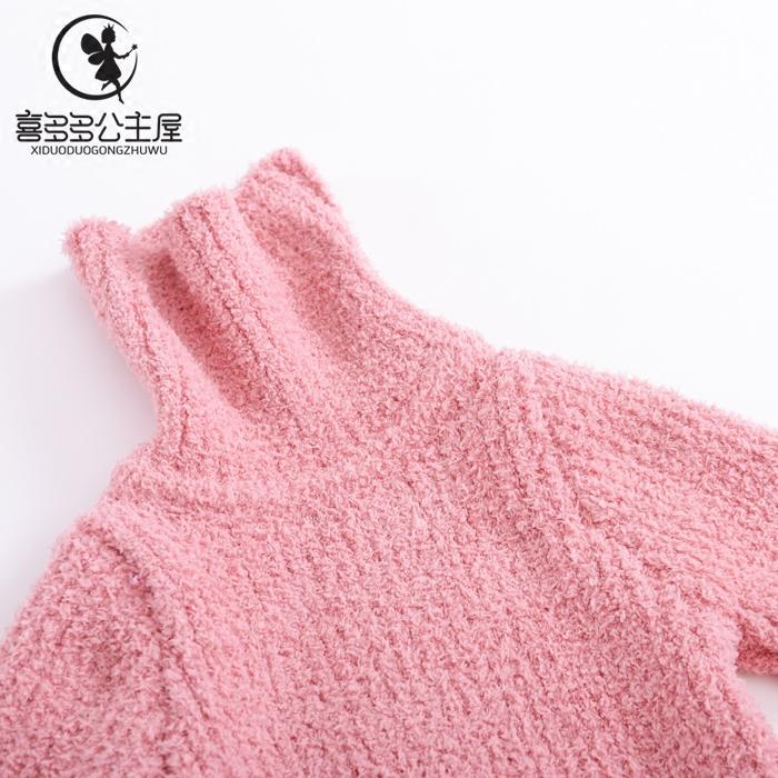 童装男女童高领毛衣打底针织衫2018春冬新款加厚保暖中大儿童上衣