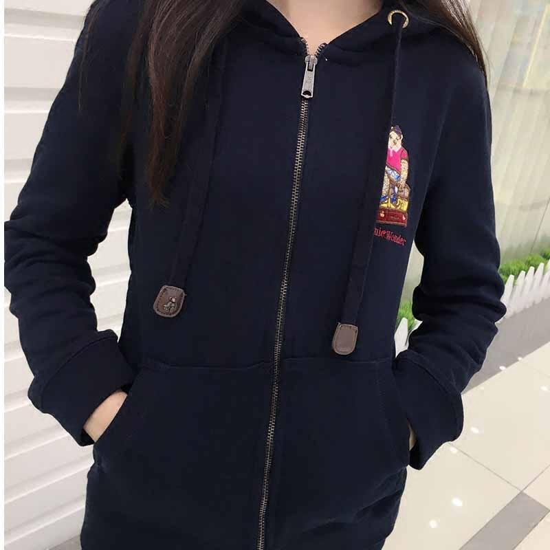 小熊卫衣休闲运动套装女春秋新款开衫外套学生宽松大码连帽两件套