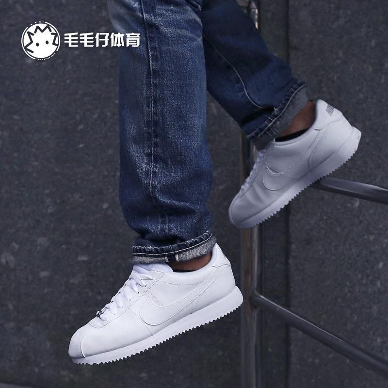 NIKE CORTEZ BASIC全白阿甘男鞋经典休闲跑鞋小白鞋819719-110