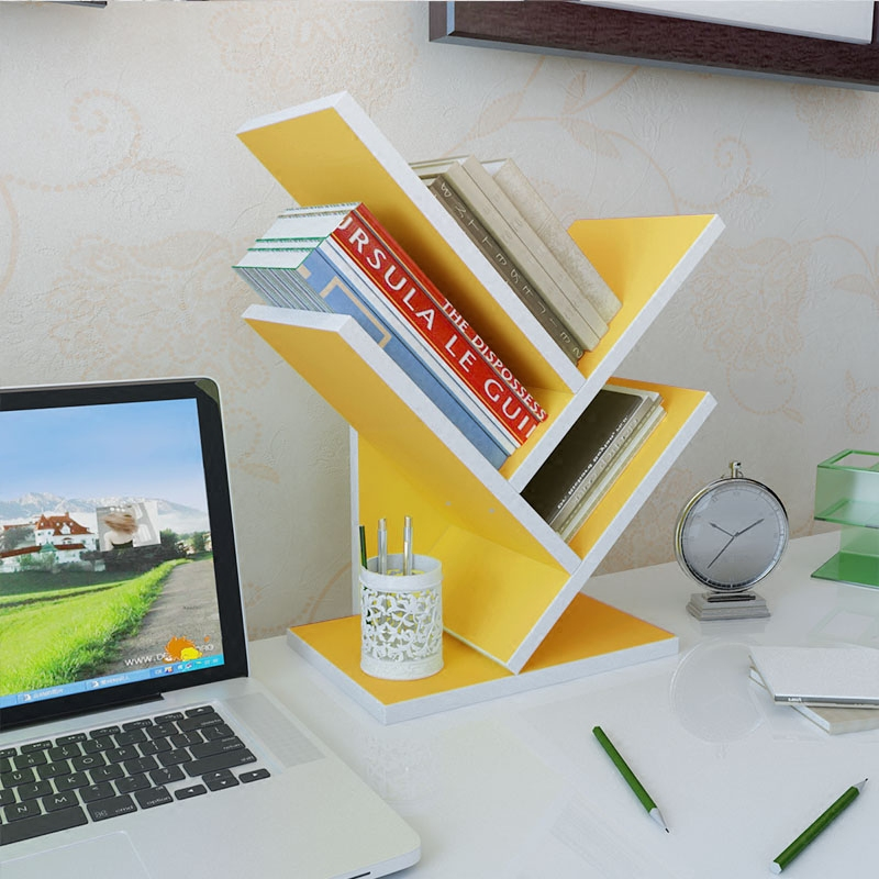 创意电脑桌上书架造型桌面书柜小型办公收纳架儿童简易置物架特价