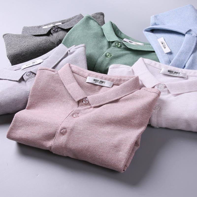 夏季青年男装 菠萝针男体恤衫 商务休闲小翻领纯色上衣 男短袖t恤