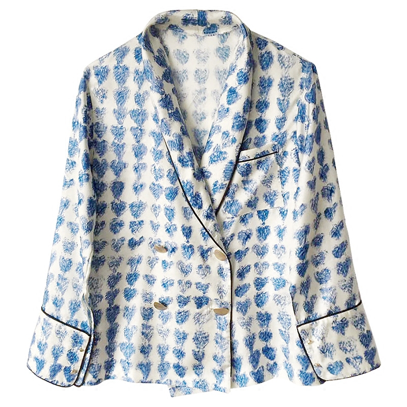 小众原创设计度假印花真丝衬衫女长袖防晒衫桑蚕丝上衣睡衣风套装