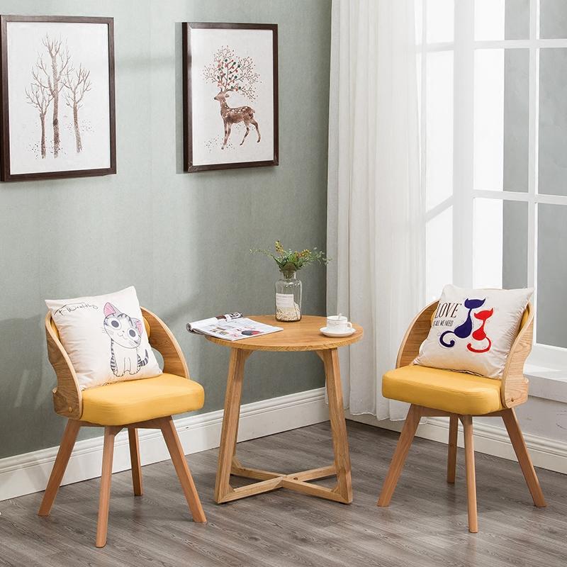 实木阳台桌椅三件套茶几组合休闲椅卧室椅庭院桌椅现代简约椅创意