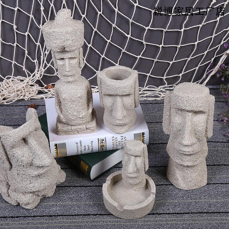 智利經典復活節島石像桌面擺件禮品砂岩工藝品家居飾品擺設造景