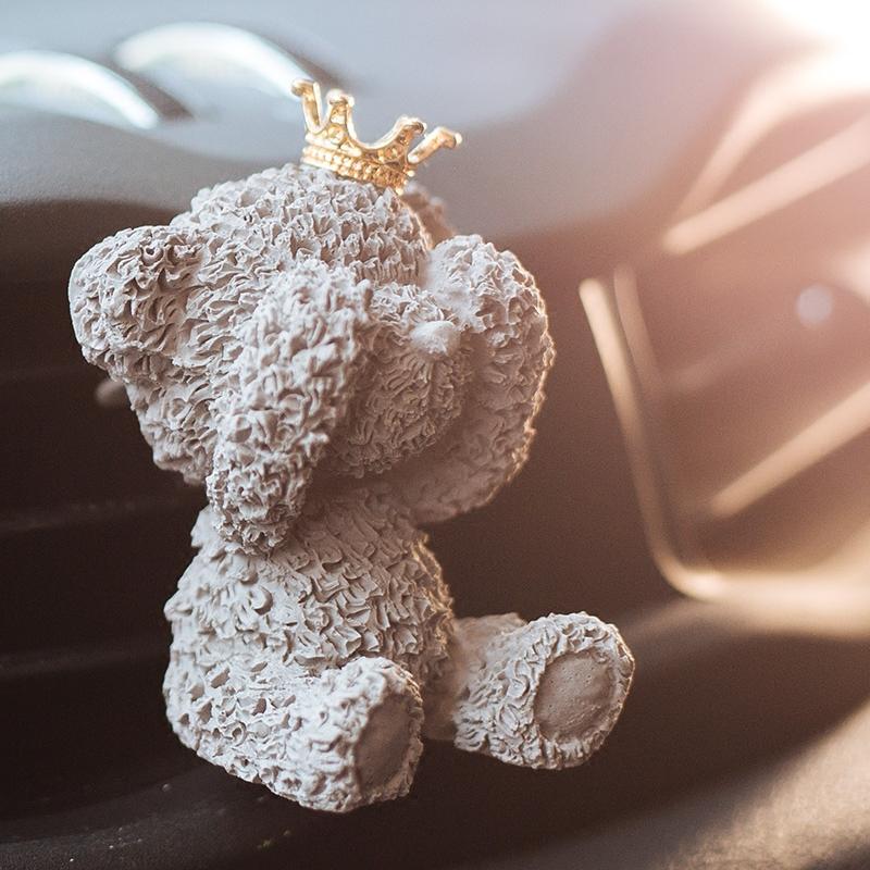 南十字星 创意汽车可爱小熊出风口固体石膏香薰 车载香水夹除异味