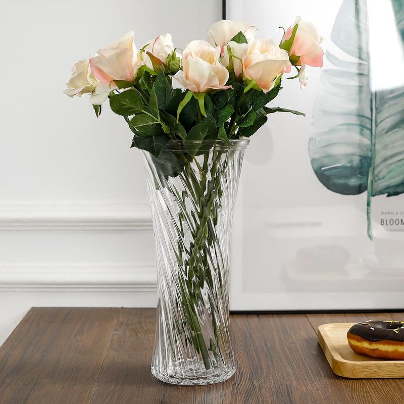 透明玻璃花瓶大号养富贵竹花瓶摆件家用客厅桌面水培百合插花花瓶