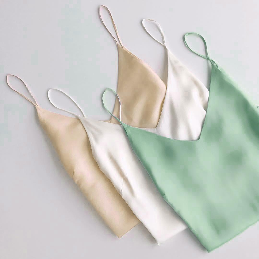 真丝吊带背心女v领丝绸缎面内搭打底衫无袖性感宽松外穿上衣女夏