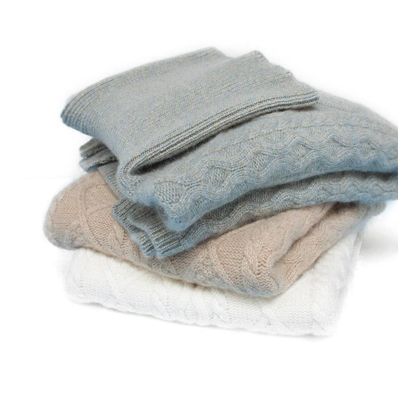 冬季三股加厚纯山羊绒衫女士高领中长款开叉大码套头包臀宽松毛衣