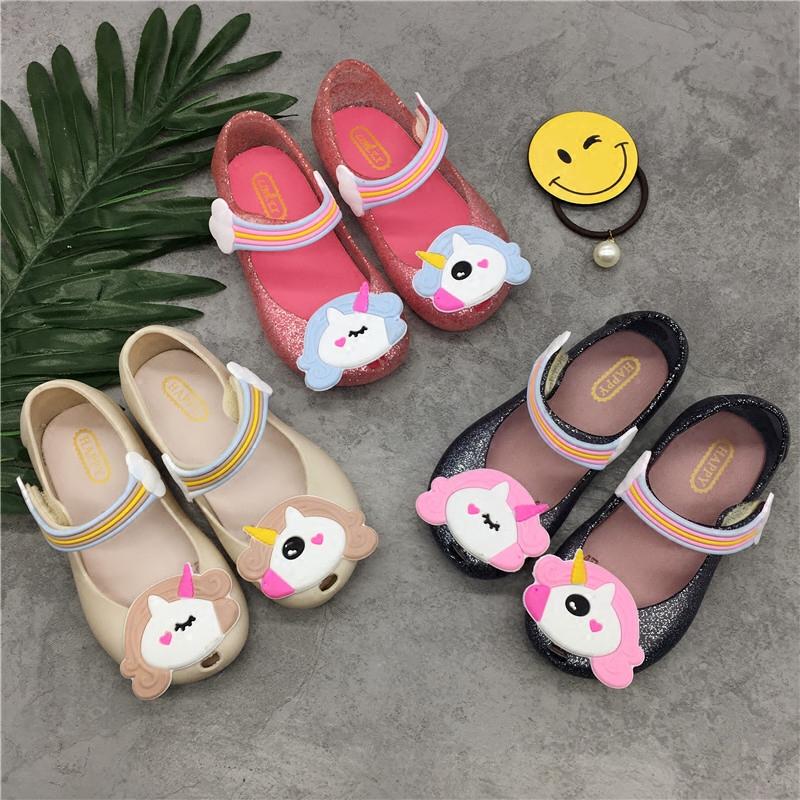 1-5岁儿童果冻鞋女童鱼嘴凉鞋包头防滑蝴蝶结猫咪米奇小马公主鞋