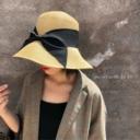 品控进!法式风情小麦秆蝴蝶结大檐帽可折叠草帽渔夫帽太阳帽女夏 - 3