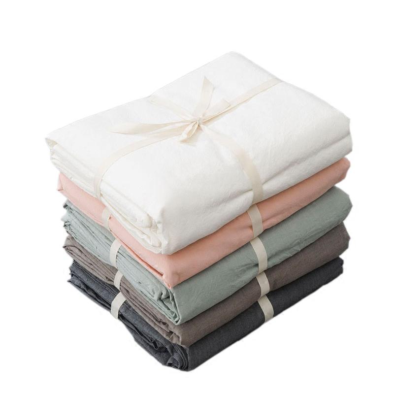 良品风水洗棉床单单件 纯棉纯色床笠单双人日式简约素色被单床品