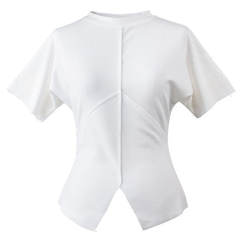 欧茄林短袖衬衫女夏韩范立领打底收腰衬衣女修身显瘦蝙蝠袖上衣A