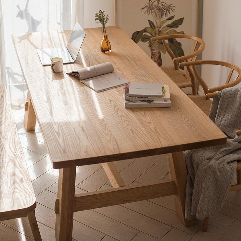 【掬涵】白蜡实木系列餐台 餐桌 工作台设计师家具多功能原色北欧