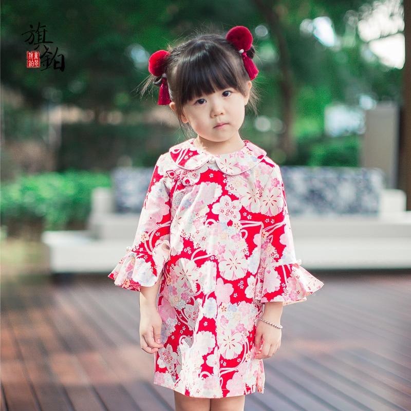 旗铂儿童旗袍春款女童连衣裙宝宝唐装长袖中国风春秋表演礼服童装