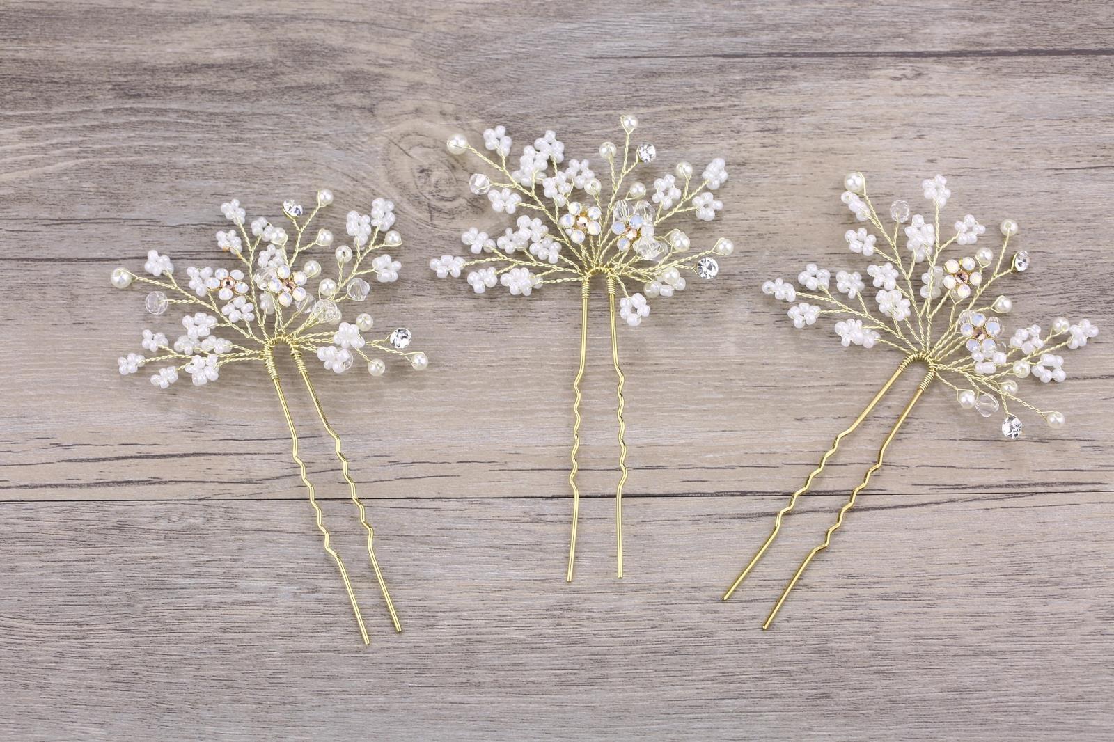 Twigs honey同款手工制作小米珠满天星发簪写真发饰婚礼头饰伴娘