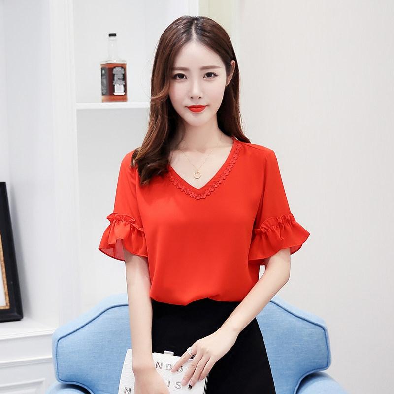 雪纺衫短袖2019新款时尚红色小衫韩版女装气质V领仙女上衣女超仙