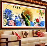 The new banner new living room painting Blossoming 5d cube diamond peacock cross stitch Peony stick drill
