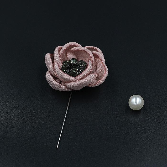 胸针一字插针长别针 手工棉麻布艺花朵胸针胸花扣针 毛衣开衫装饰