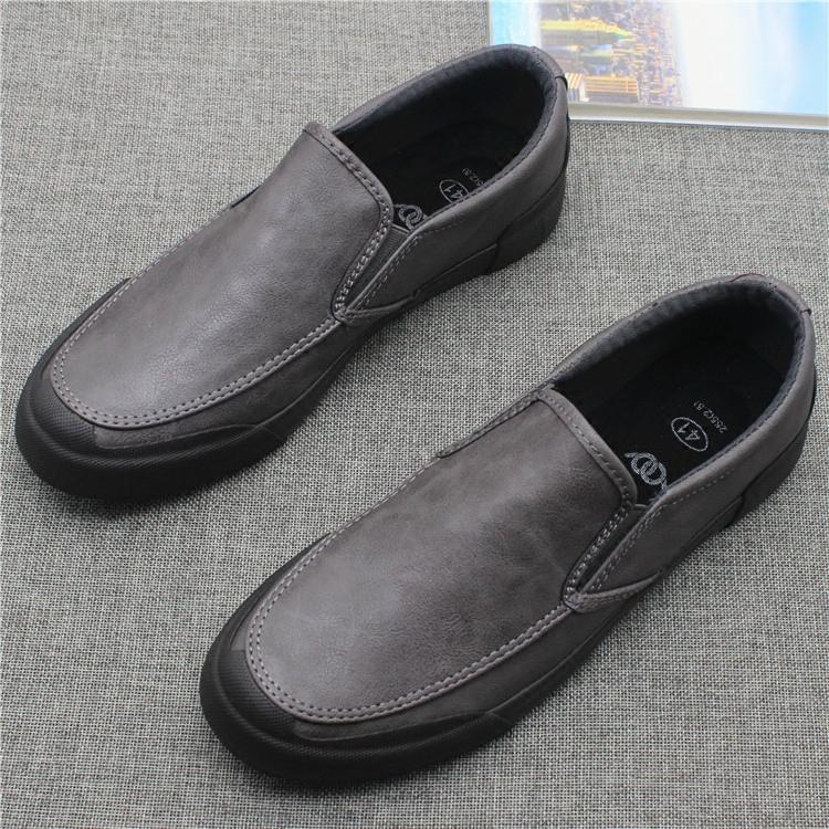 新款低帮一脚蹬休闲男皮鞋秋季简约百搭套脚男鞋黑色商务工作鞋子