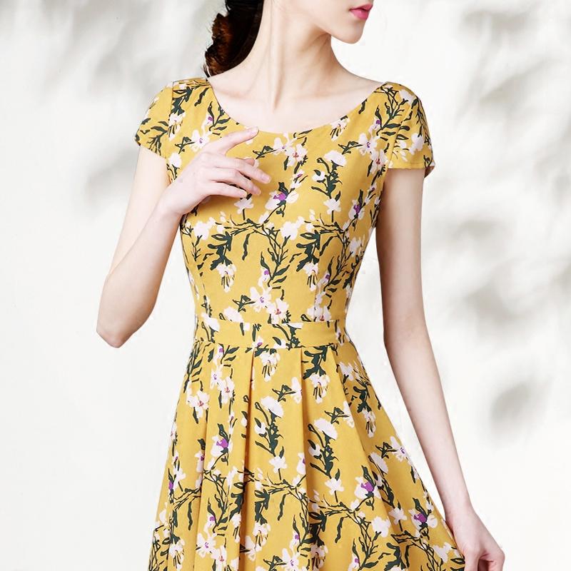 夏装新款裙子2018女装修身显瘦短袖收腰轻薄中长款印花大摆连衣裙