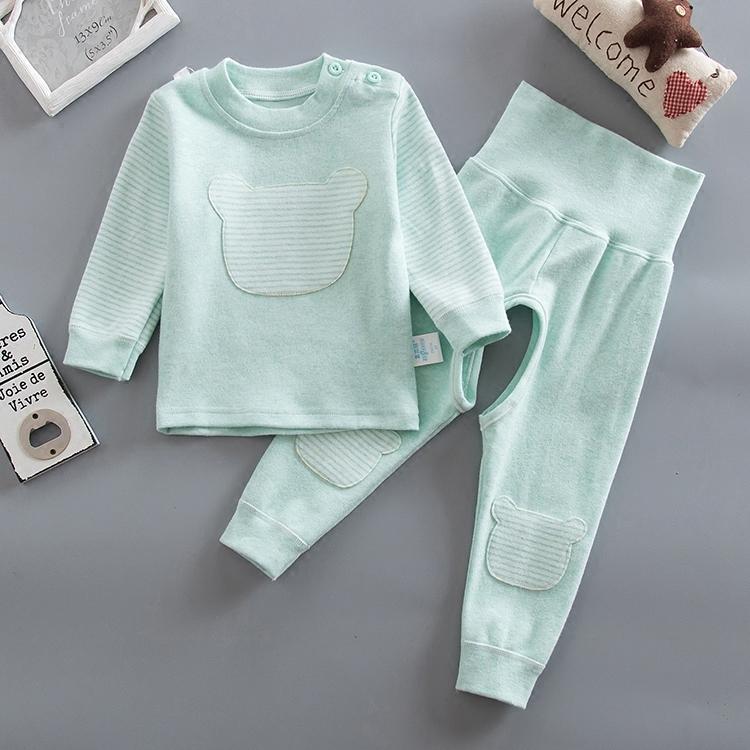 春秋嬰兒高腰護肚褲套裝寶寶秋衣秋褲兒童內衣套裝睡衣開檔彈力棉
