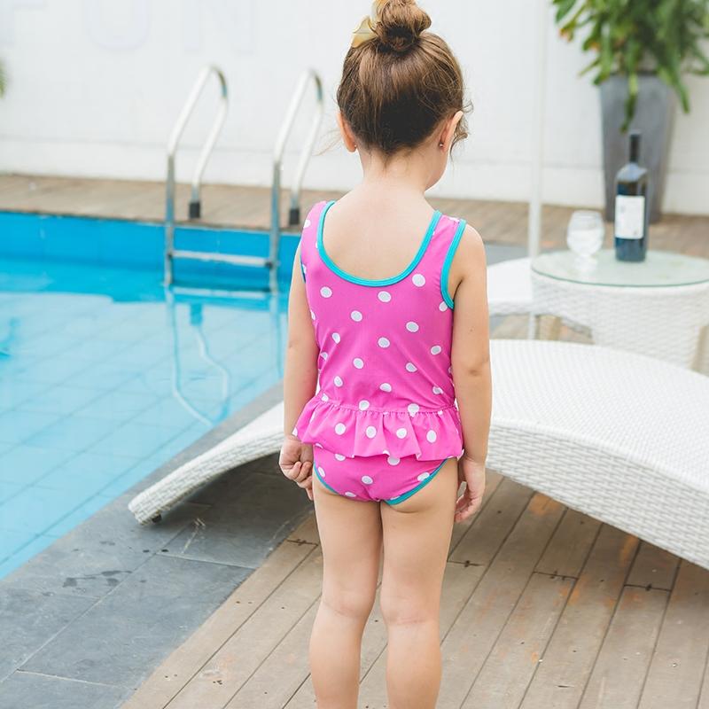 儿童泳衣女孩中小童泳装连体裙式宝宝儿童游泳衣女童泳衣防晒泳衣