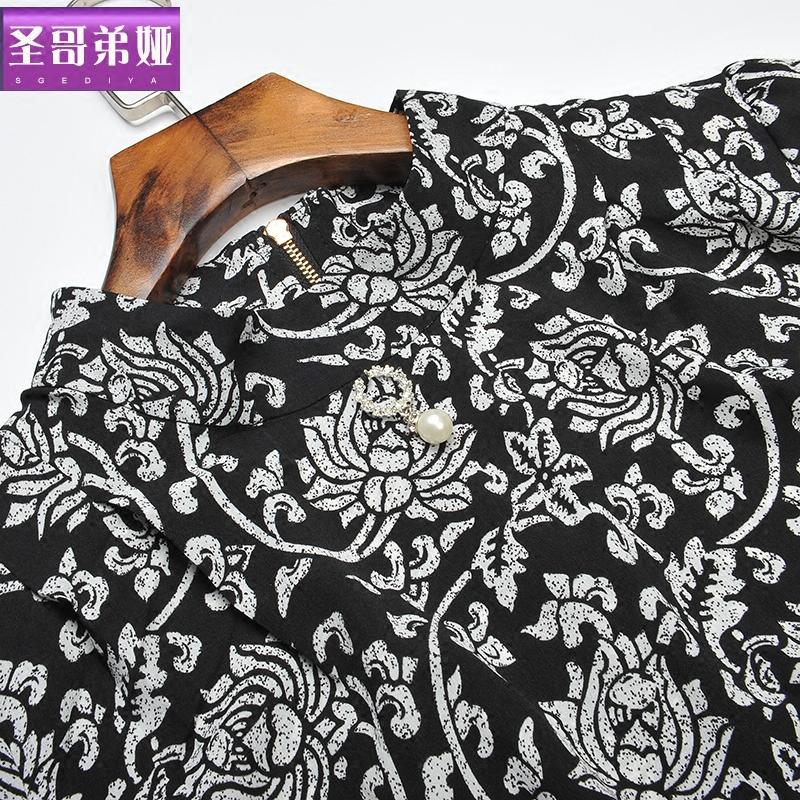 圣哥弟娅2019秋装新款女七分袖时尚印花碎花雪纺衫短款T恤上衣