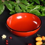 Jinyuan Fontaine big lacquer retro Chinese have ear big lacquer bowl Zhu red lacquer paint bowl acid solid wood whole wood
