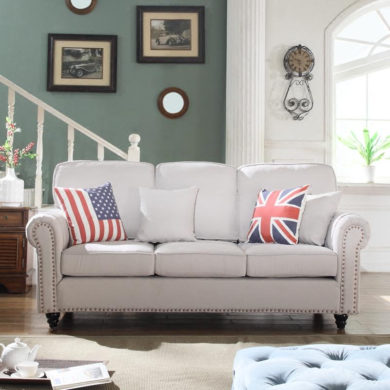 克洛丽斯美式乡村布艺沙发小户型客厅L形可拆洗简约三人沙发组合