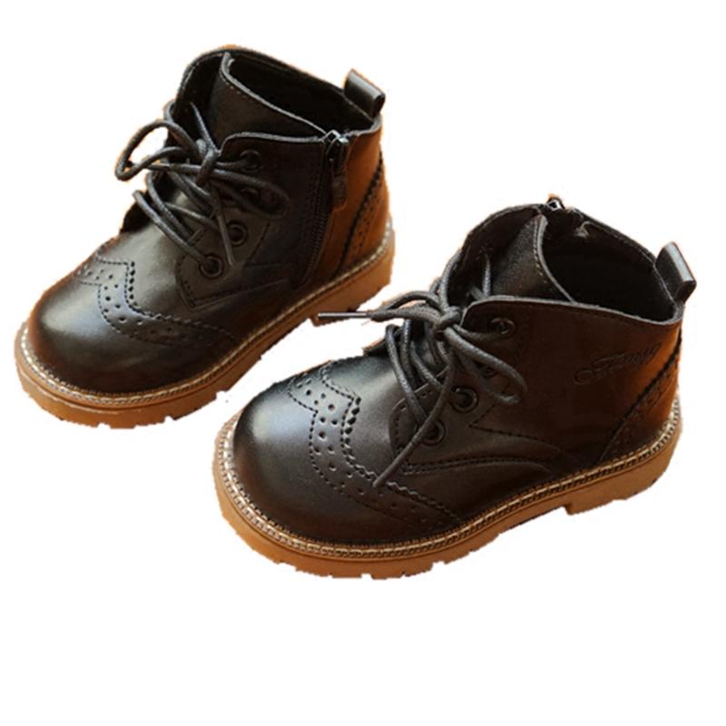 儿童马丁靴女宝宝英伦风百搭秋冬新款男童休闲软底单靴加绒棉靴子