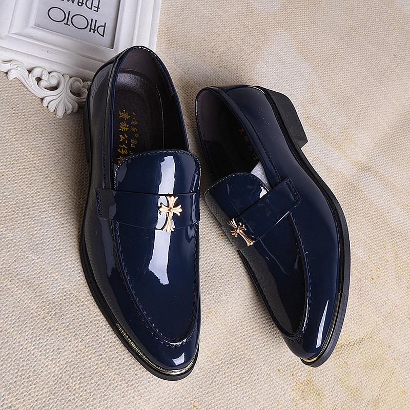 春秋季新款男士英伦风蓝色亮皮商务休闲皮鞋发型师潮流尖头男鞋子