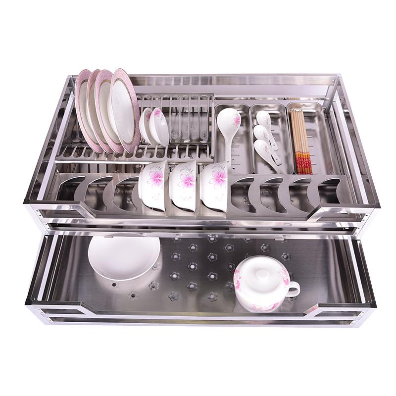 fl 柜内有分非标短尺拉篮浅柜子箱底管道水表碗碟橱柜不锈钢拉篮