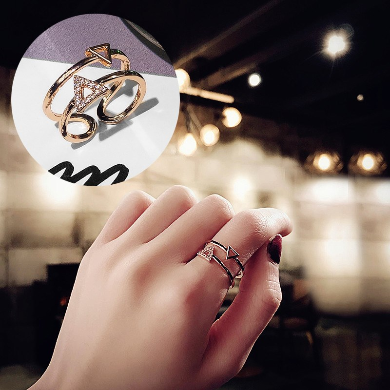 食指戒指女日韩潮人学生个姓简约时尚百搭韩版开口关节指环戒子