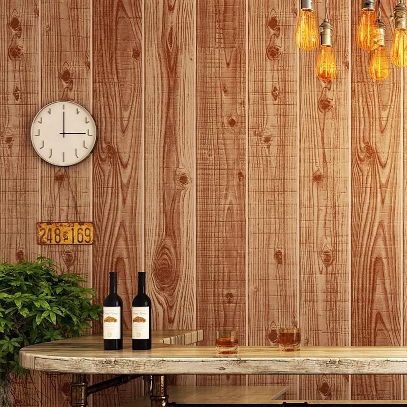 欧风格白色木纹墙纸仿木原木色电视背景墙复古怀旧墙布