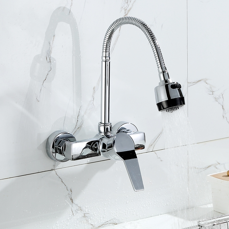 浴室入墙全铜挂墙式面盆出墙壁欧式洗手盆冷热水龙头双孔墙上