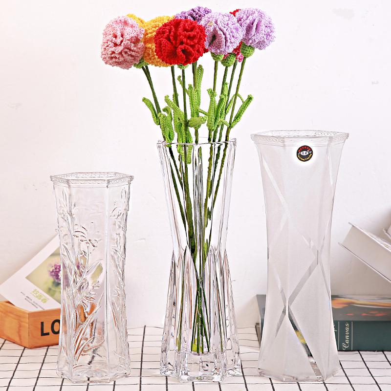 麻绳花口藤编大号客厅白色艺术琉璃花束饰品花瓶卧室家用塑料落地